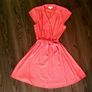 Coral Cinched Wrap Dress